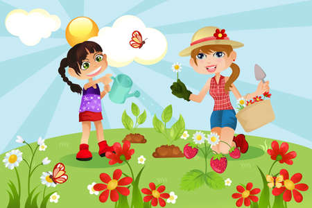 family gardening: A vector illustration of a mother and a daughter gardening