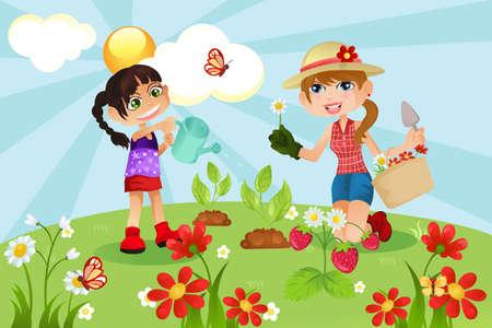 Een vectorillustratie van een moeder en een dochter tuinieren