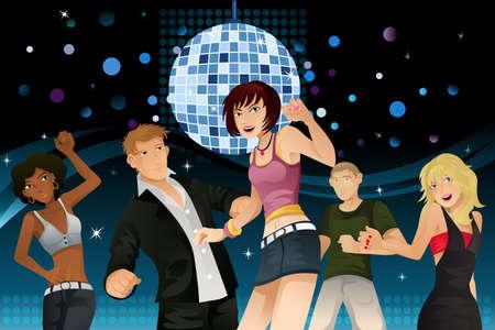 파티와 디스코 클럽에서 춤을 젊은 사람들의 벡터 일러스트 레이 션