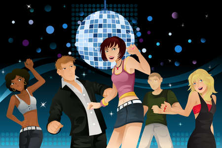 A vector illustration of young people partying and dancing in a disco club Vector