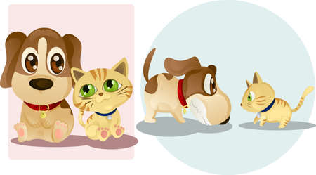 Vector illustrations of a dog and a cat, being friends and enemies