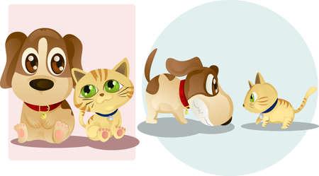 fighting dog: Illustrazioni vettoriali di un cane e un gatto, amici e nemici