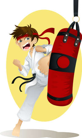 practicing: A vector illustration of a teenage boy practicing karate