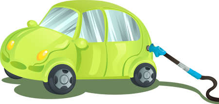 A vector illustration of a car being fueled up with gasoline Vector
