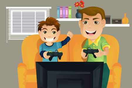 A father and his son playing video games in the living room