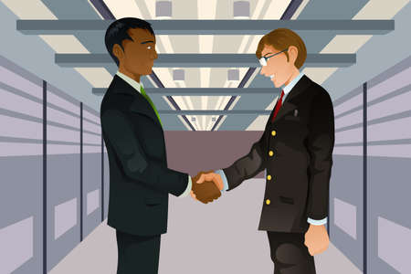 two businessmen shaking hands in a technology datacenter