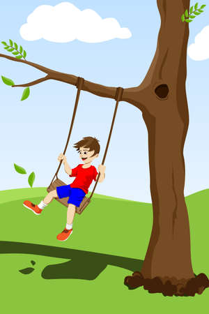 happy kid swinging on a tree outside Vector
