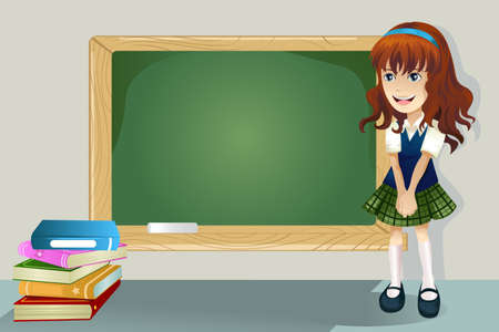 school girl uniform: A student standing in front of a blackboard Illustration
