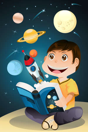 A boy reading an astronomy science book