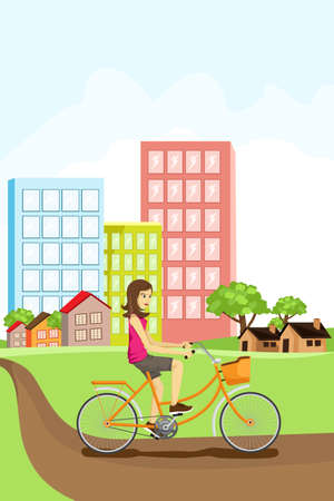 A woman riding a bike in an urban setting Vector