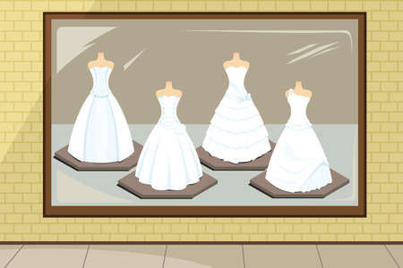 display: A wedding dresses in store display Illustration