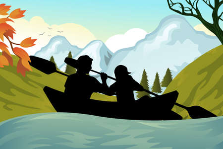 canoes: illustration of two people kayaking on the river Illustration