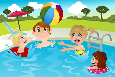 family outside: illustration of a happy family playing in swimming pool