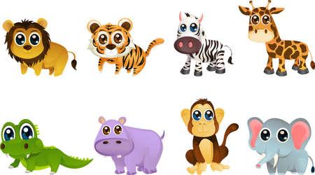 illustratie van verschillende dieren in het wild dieren cartoons