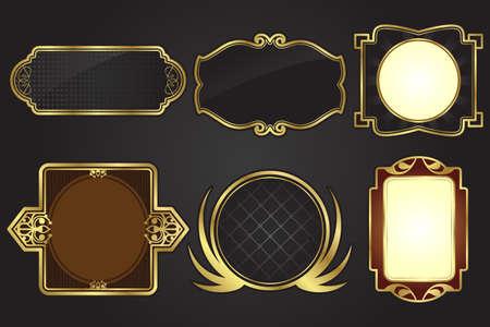 Abbildung eines Satzes von schwarz und gold frames Standard-Bild - 9576361
