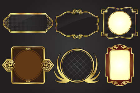 gold frame: illustration of a set of black and gold frames