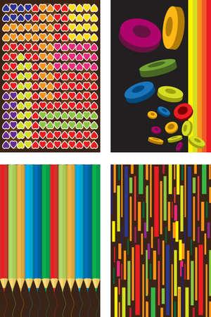 abstract art: illustration of a set of wallpaper designs Illustration