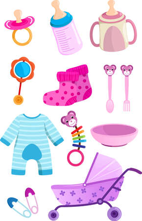 stuffs: illustration of a set of baby items