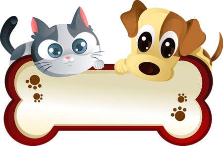 perro caricatura: Una ilustraci�n vectorial de un perro y un banner de gato Vectores