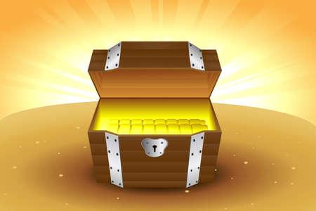 내부에 황금과 목조 보물 상자의 벡터 일러스트 레이션