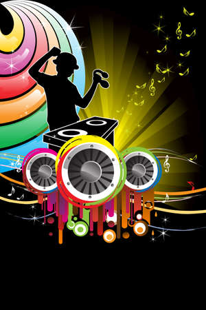 music: A vector illustration of a music DJ playing music Illustration
