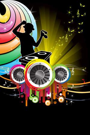 Een vectorillustratie van een muziek DJ spelen muziek Stock Illustratie