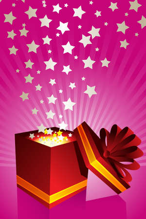 A vector illustration of an opened gift box