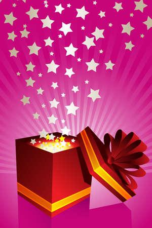 apriva: Una illustrazione vettoriale di una confezione regalo aperto