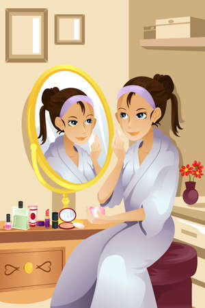 A vector illustration of a beautiful woman applying makeup.  Vector