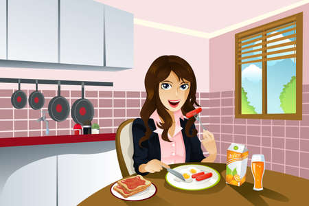 A vector illustration of a beautiful woman eating breakfast at home.