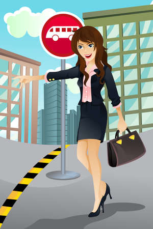A vector illustration of a beautiful woman waiting for a bus to go to work.  Vector