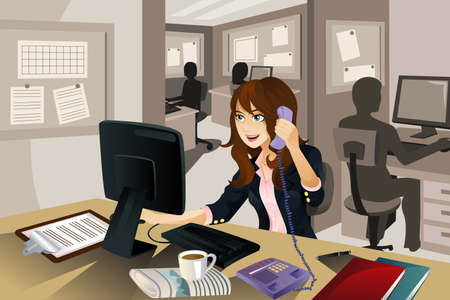 A vector illustration of a businesswoman working in the office.  Vector