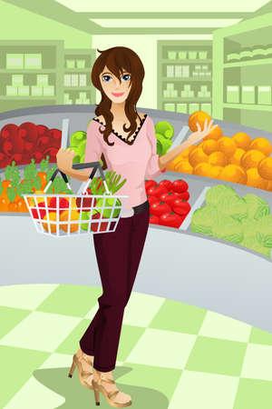 Een vectorillustratie van een mooie vrouw boodschappen bij de supermarkt winkelen.   Stock Illustratie
