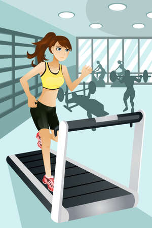 A vector illustration of a beautiful woman exercise in a gym.