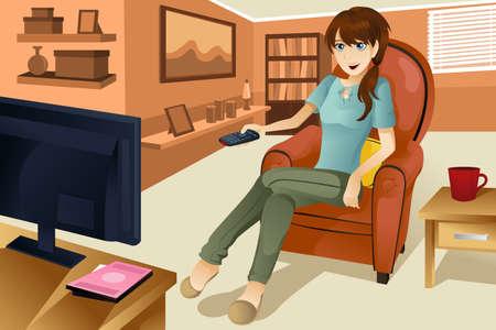 家でテレビを見ている美しい女性のベクトル イラスト。