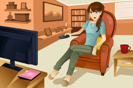 tv room: A vector illustration of a beautiful woman watching television at home.