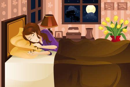 Een vectorillustratie van een mooie vrouw slapen op bed.
