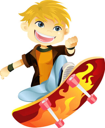 A vector illustration of a skateboarding boy Illustration