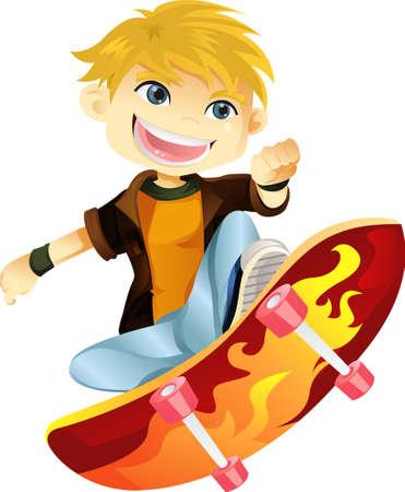 Een vectorillustratie van een skateboarden jongen