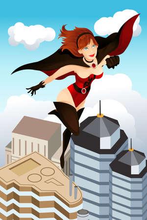 Een vectorillustratie van een held vliegen boven de stad Stock Illustratie