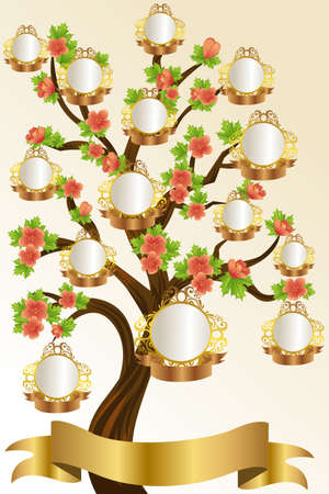 arbol genealógico: Una ilustración vectorial de una plantilla de árbol genealógico