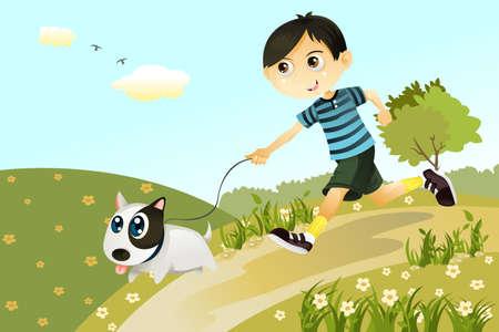Een vector illustratie van een jongen en een hond spelen en rennen in het park
