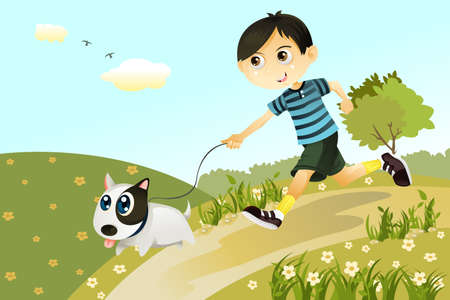 A vector illustration of a boy and a dog playing and running in the park