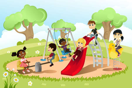 children playing outside: A vector illustration of a group of multi-ethnic children playing in the playground