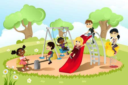 Una ilustración vectorial de un grupo de niños multiétnicos jugando en el patio