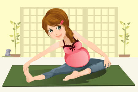 A vector illustration of a pregnant woman stretching before doing pregnancy yoga Ilustração