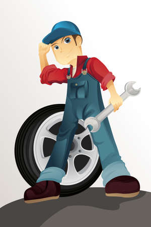 auto service: A vector illustration of an auto mechanic