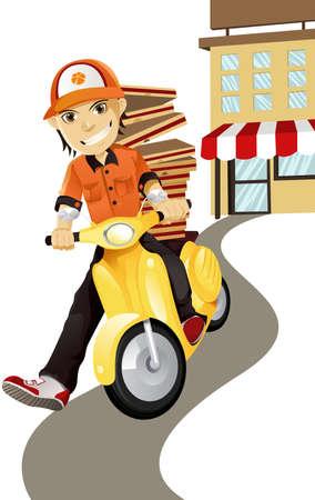 conductor: Una ilustraci�n vectorial de un hombre de entrega de pizza Vectores