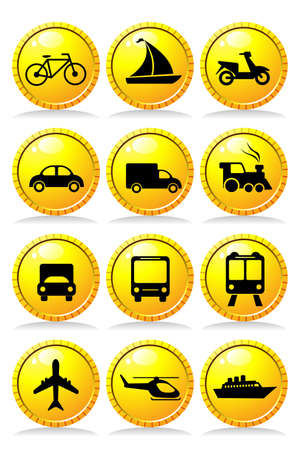 A vector illustration of a set of transportation icons