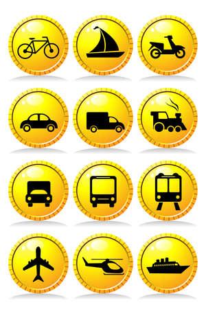 Une illustration de vecteur d'un ensemble d'icônes de transport